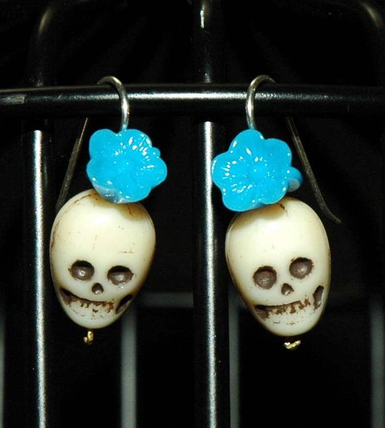 Tan and Blue Muerte Earrings