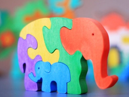 Elephant Puzzle. wooden toys, wooden animal puzzle, eco-friendly handmade toys for babies, children, kids, boys and girls - ArtGiftStore