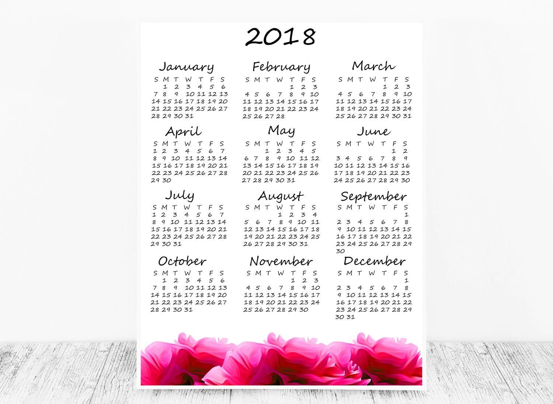 2018 Calendar 2018 Desk Calendar 2018 Planner Desk Calendar