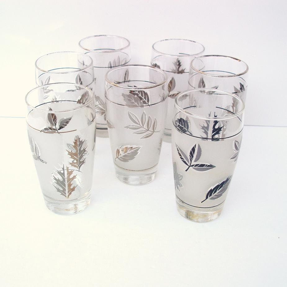 mid century barware frosted glass tumblers drinking by