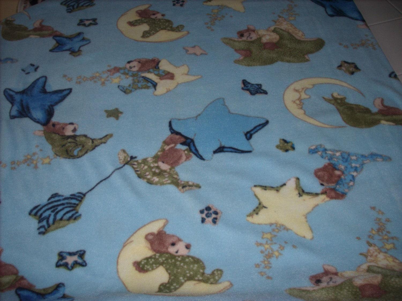 August sale 1 2 yard fleece fabric bears by craftsplusgiftshop for Moon and stars fleece fabric