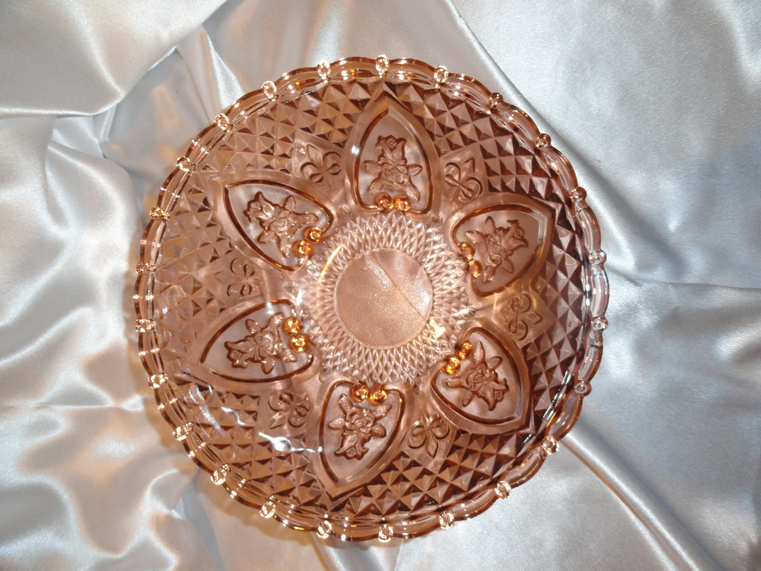 Beautiful rare vintage pink depression glass by for Most valuable depression glass patterns