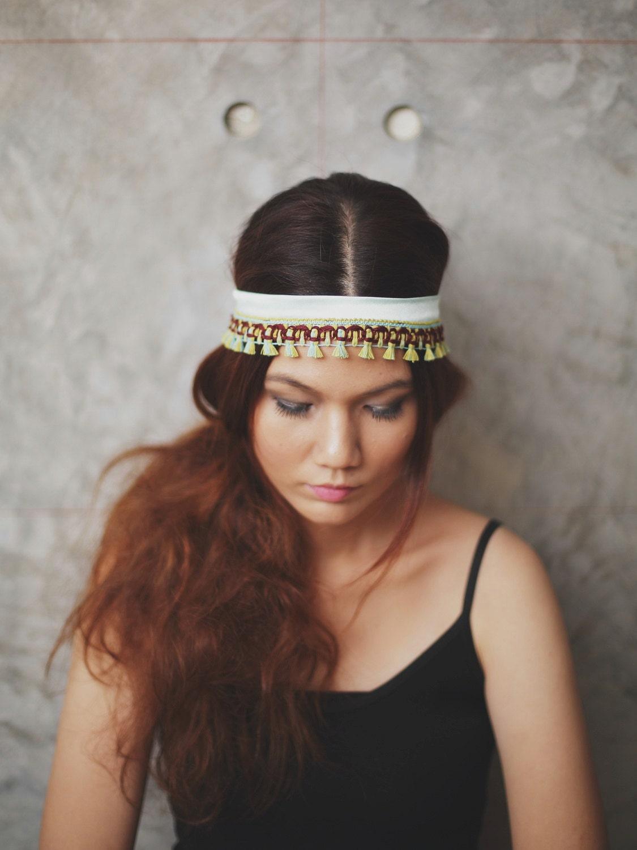 Boho chic - Mint, Lime green,Brown, blue,Hippie Tribal headband, boho headband, aztec - Rumraisina