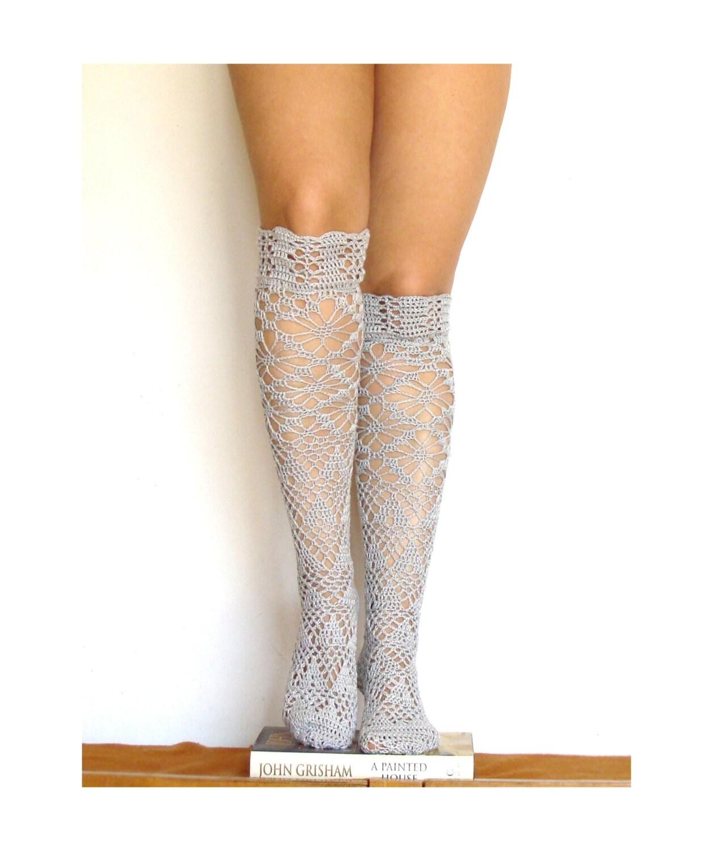 Crochet Knee High Socks : high knee socks crochet gray lacy knee sleepers crochet boot socks ...