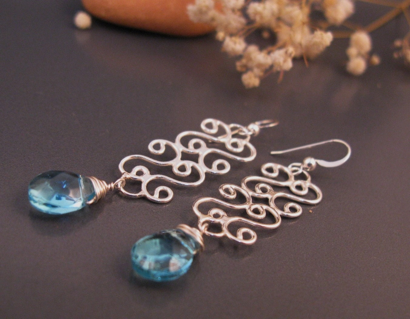 Delicate filigree dangle earrings with an Aqua Blue briolette stone, birthday gift for mom, sister, girlfriend, wife