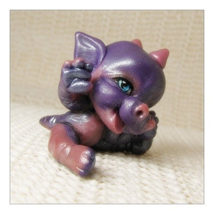 Kawaii Chibi Creature                                         Chibitude Figurine Polymer Clay                                         Hand Made Dragon
