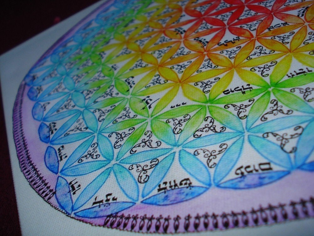 Coloring Flower Of Life : Mandala with the flower of life rainbow colors by