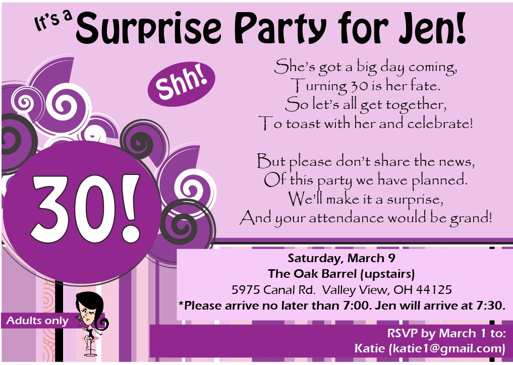 Items similar to 30th Birthday Surprise Party Invitation with Poem on Etsy