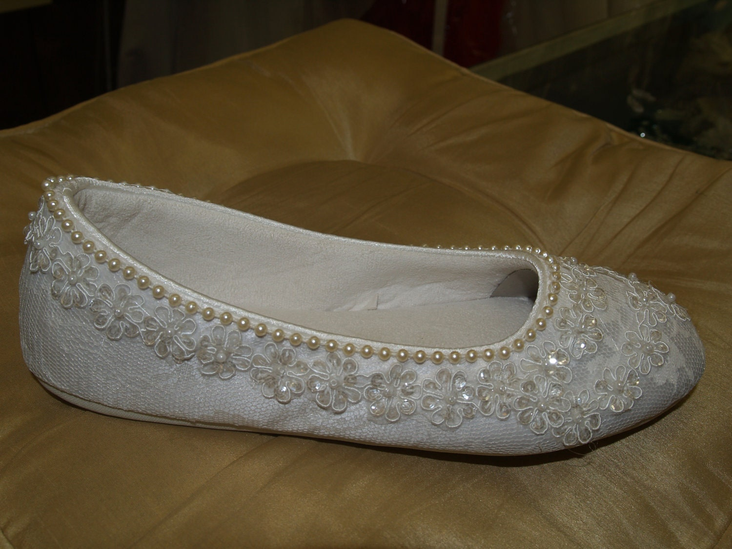 Wedding Ivory Flats Vegan Shoes Embellished with hand sewn pearls and ivory