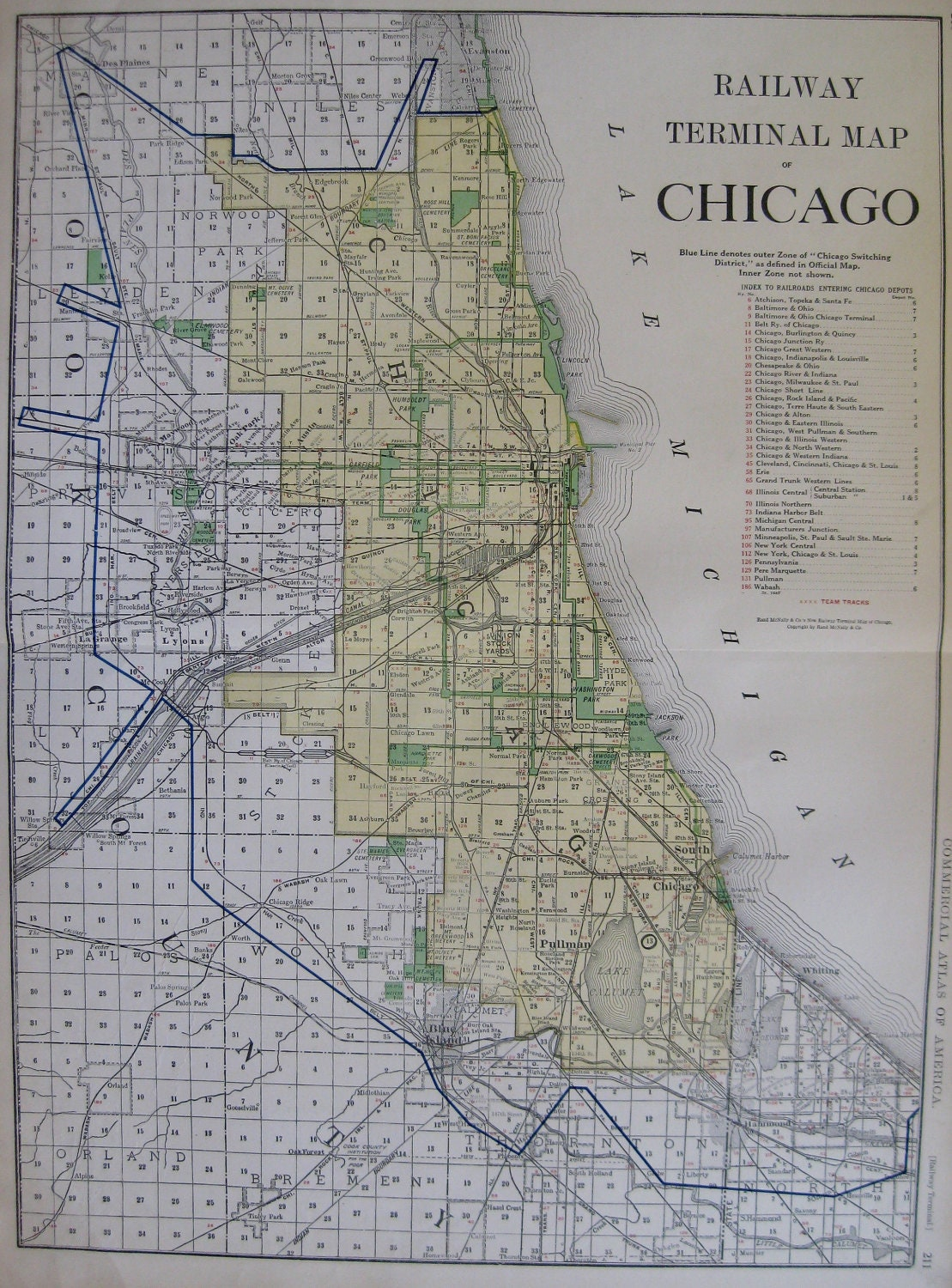RARE Map Of CHICAGO W Railroads Stunning 1921 By Plaindealing