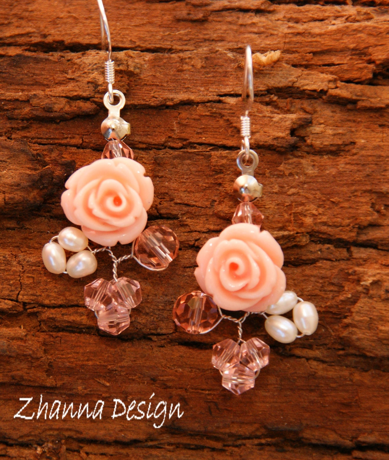 Pink coral roses,swarovski crystals,freshwater perls Earrings handmade by Zhanna Design.