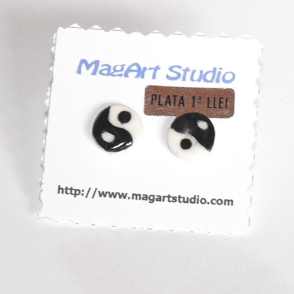 Ying Yang porcelain earrings with sterling silver stud earrings - MagArtStudio