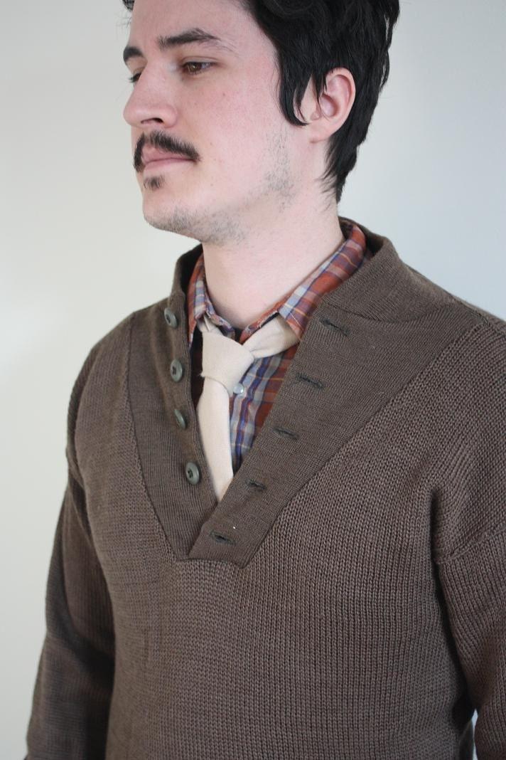 vintage men's army green olive shawl-collar button neck sweater, size medium