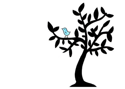 Simple bird in tree drawing cute black and by for Cute tree drawing