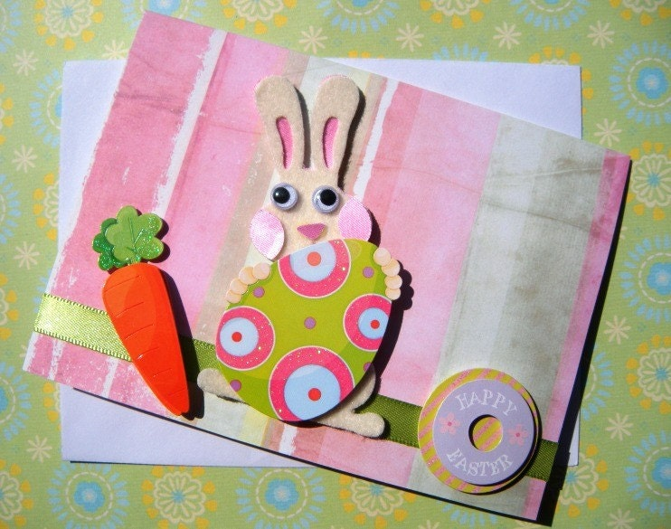 Easter Greetings Note Card Set - Bunny Rabbit, Easter Basket and Easter Eggs with Flowers (Set of 4)