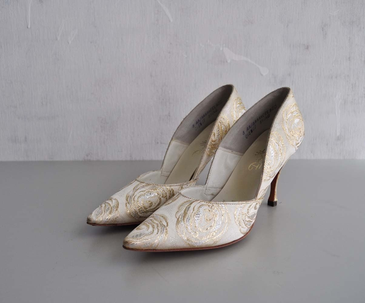 Vintage 50s Metallic ROSE Pumps by MariesVintage on Etsy
