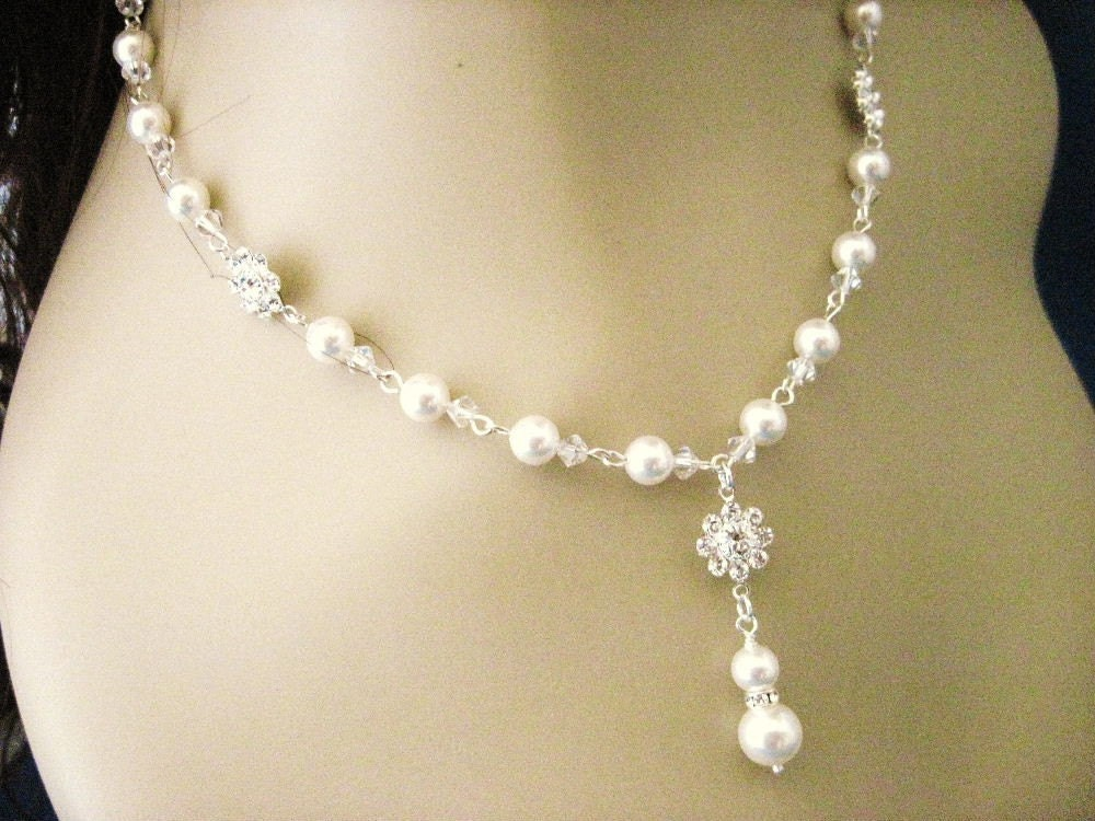 Fallon Crystal Flower and Pearl Wedding Necklace