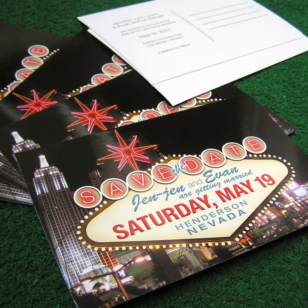 Las Vegas Save the Date Postcards - Set of 100