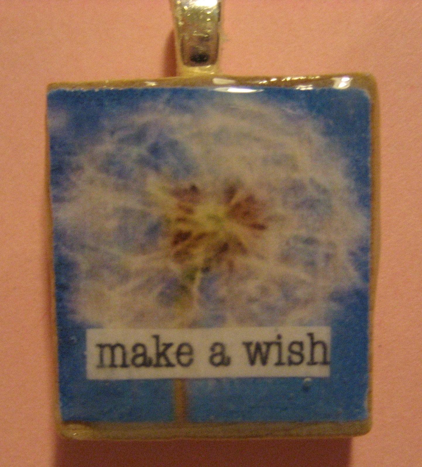 Make a Wish Scrabble Tile Pendant