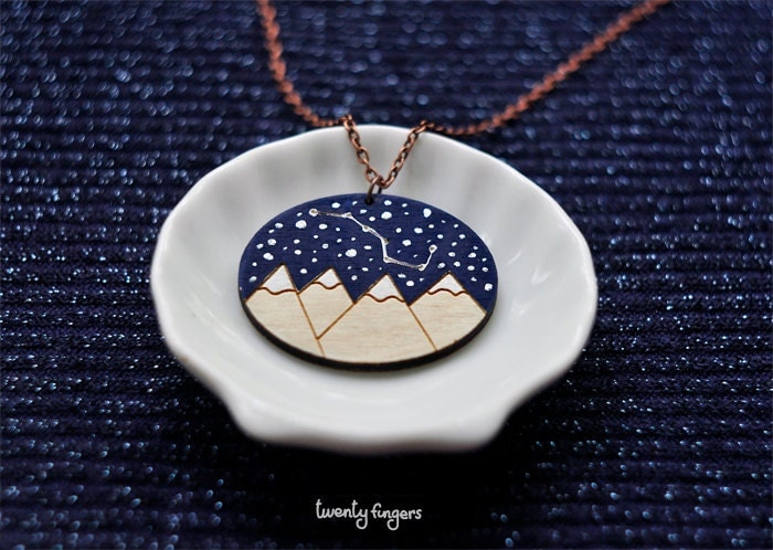 "Wood Laser cut Pendant starry sky with the constellation ""Ursa Major"" - TheTwentyFingers"