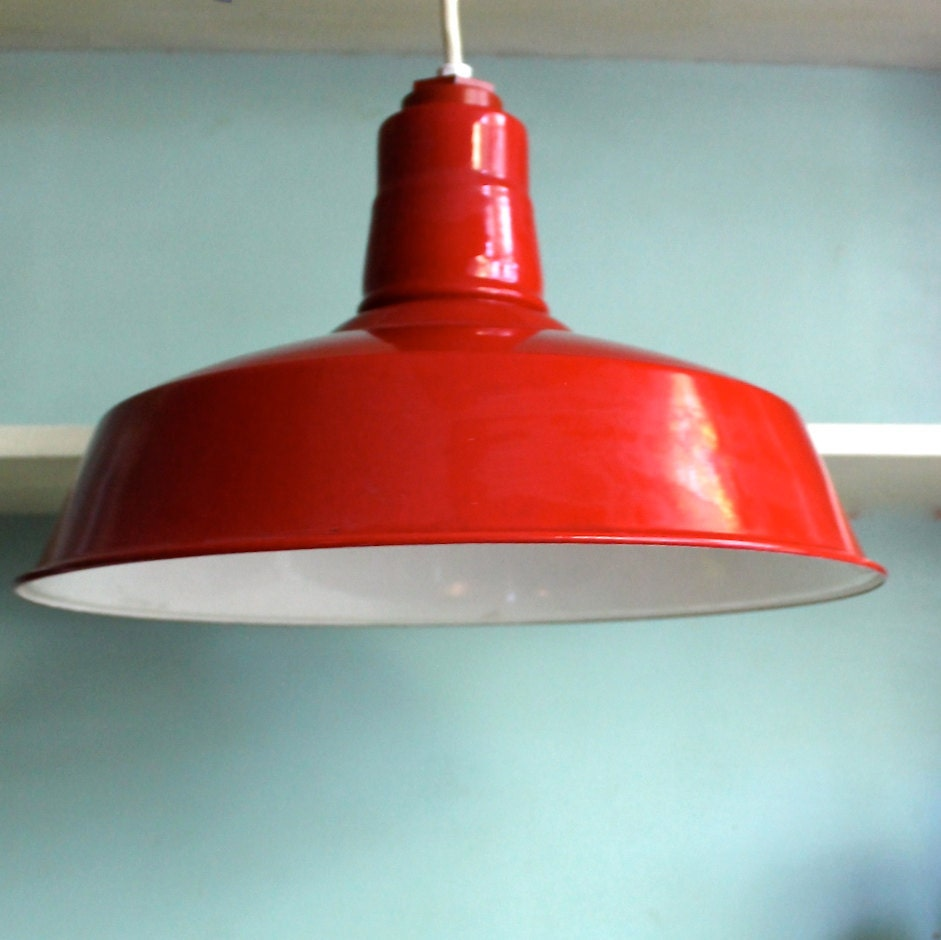 Vintage Industrial Enamel Pendant Light: Unavailable Listing On Etsy