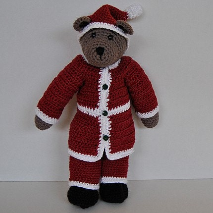 PDF Crochet Pattern - 10 inch Bear in Santa outfits