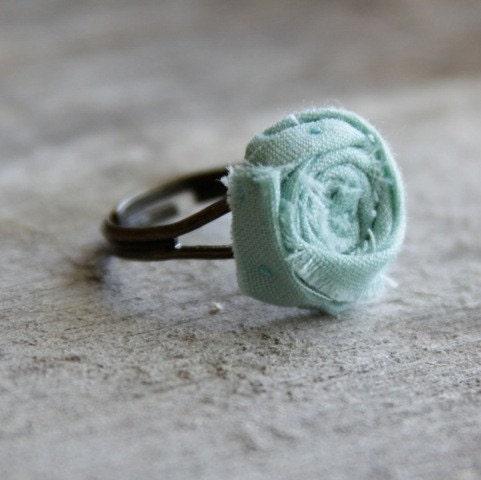 Teal Blue Rosette on an Adjustable Ring