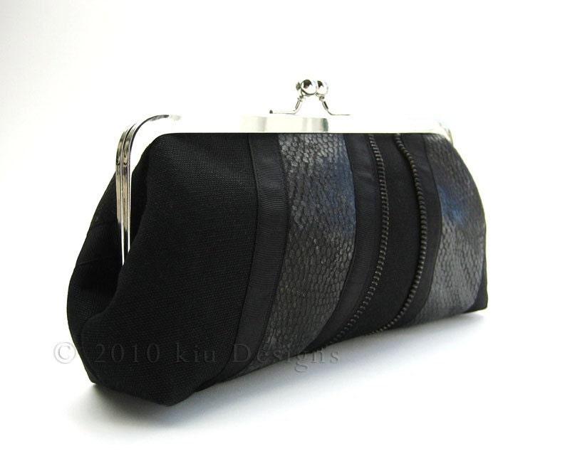 Eden Noir Leather Zip Canvas Clutch