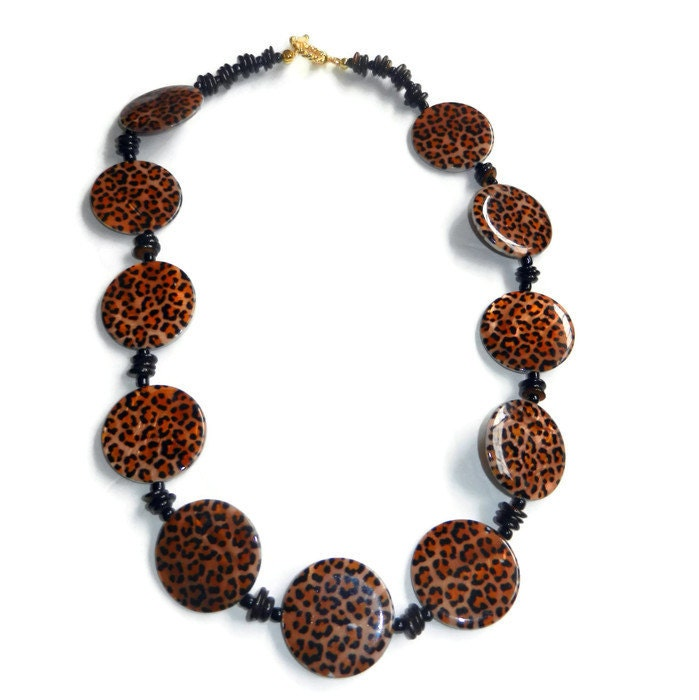 items similar to leopard print beaded necklace on etsy