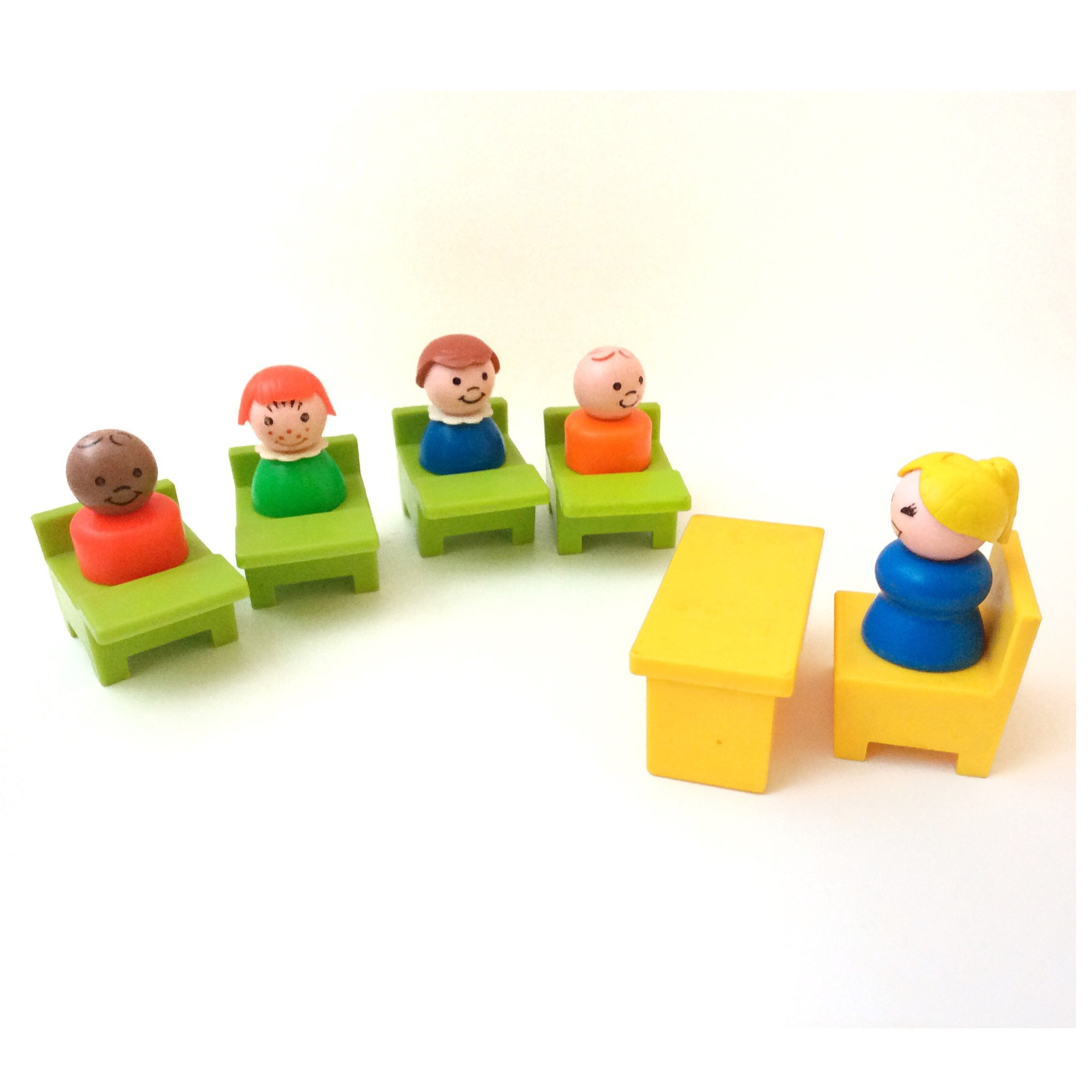 1971 Classic Iconic Fisher Price Little People School House Teachers and Children Made in Great Britain Retro Collectible Toy