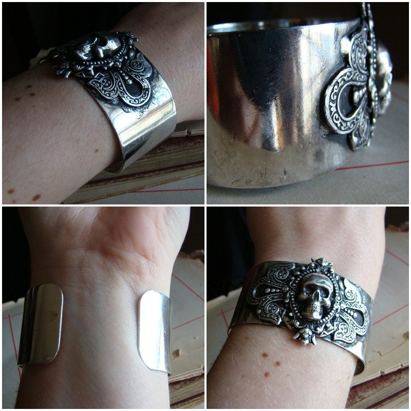 Hedonist  - Antiqued Silver Victorian Metal Cuff