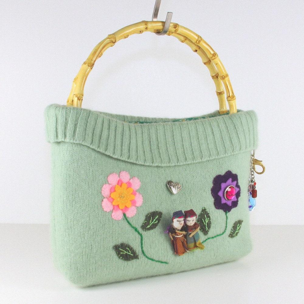 Appliqued Handbag, Eco Chic Bag, Repurposed Pouch, Casual Bag, Embroidered Handbag - MisqueManuf