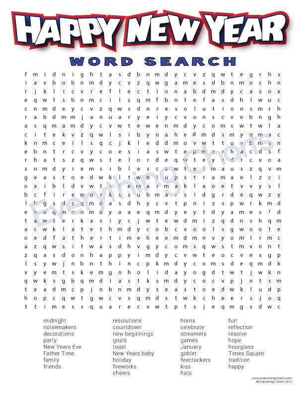 New Year's Wordsearch PDF File/Printable by EverythingCharts