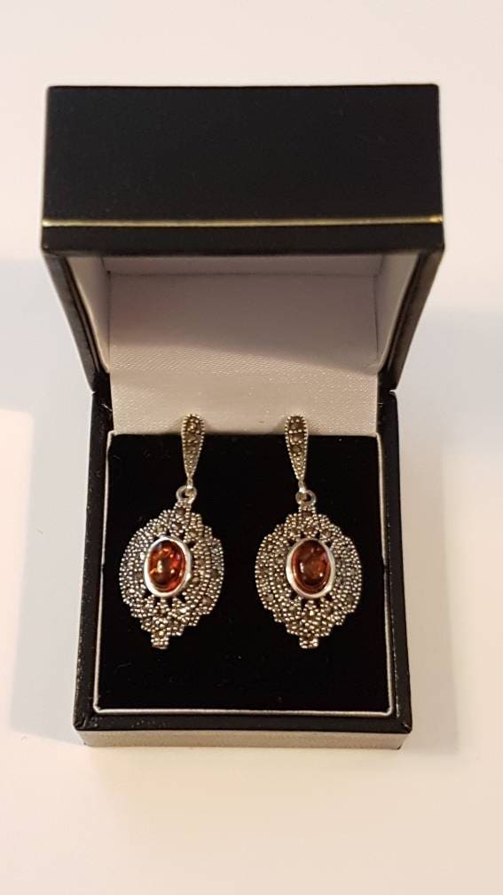 Exceptional Art Nouveau Style Sterling Silver Sparkly Marcasite and Genuine Baltic Amber Drop Earrings
