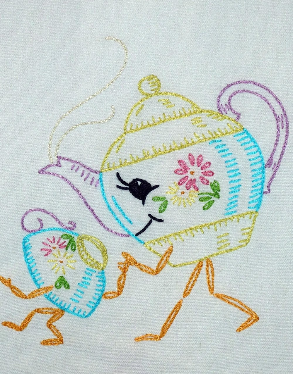 Momma Teapot and Her Little Teacup Hand-Embroidered Tea Towel/Dishtowel