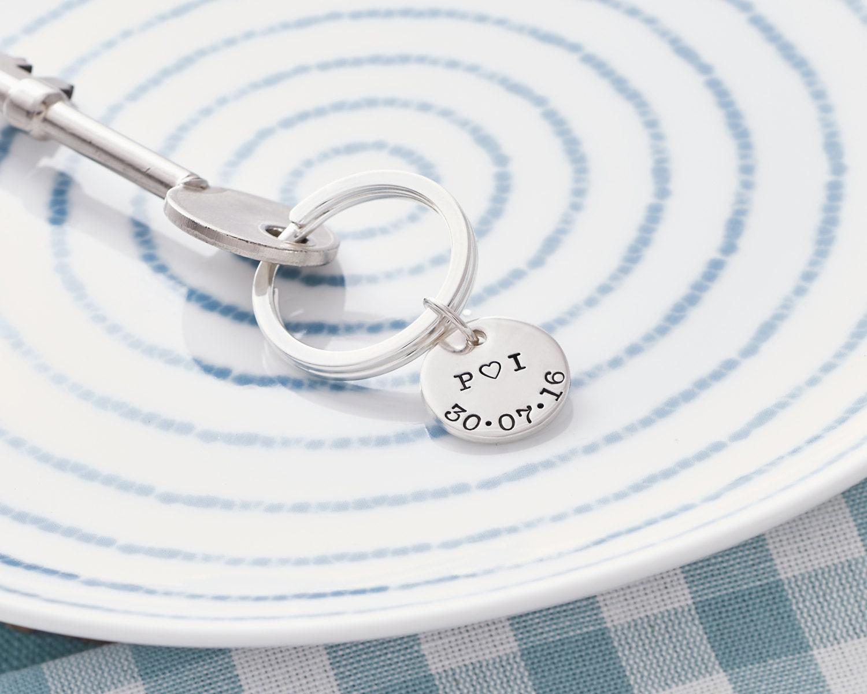 Personalised Wedding Keyring  Wedding Anniversary Keyring  Personalised Keyring  Sterling Silver Keyring  Mens Personalised Keyring