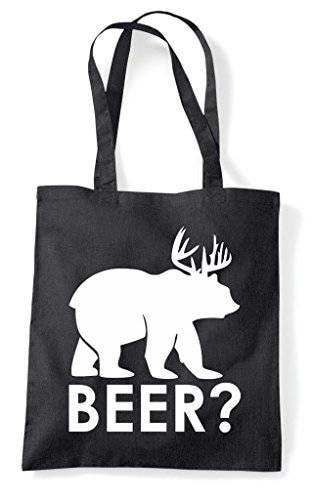 Beer Question Mark Bear Cross Deer Cute Funny Animal Themed Tote Bag Shopper