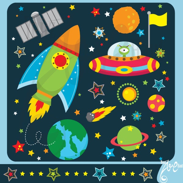 Outer space clipart outer space clip art pack instant for Outer space paper