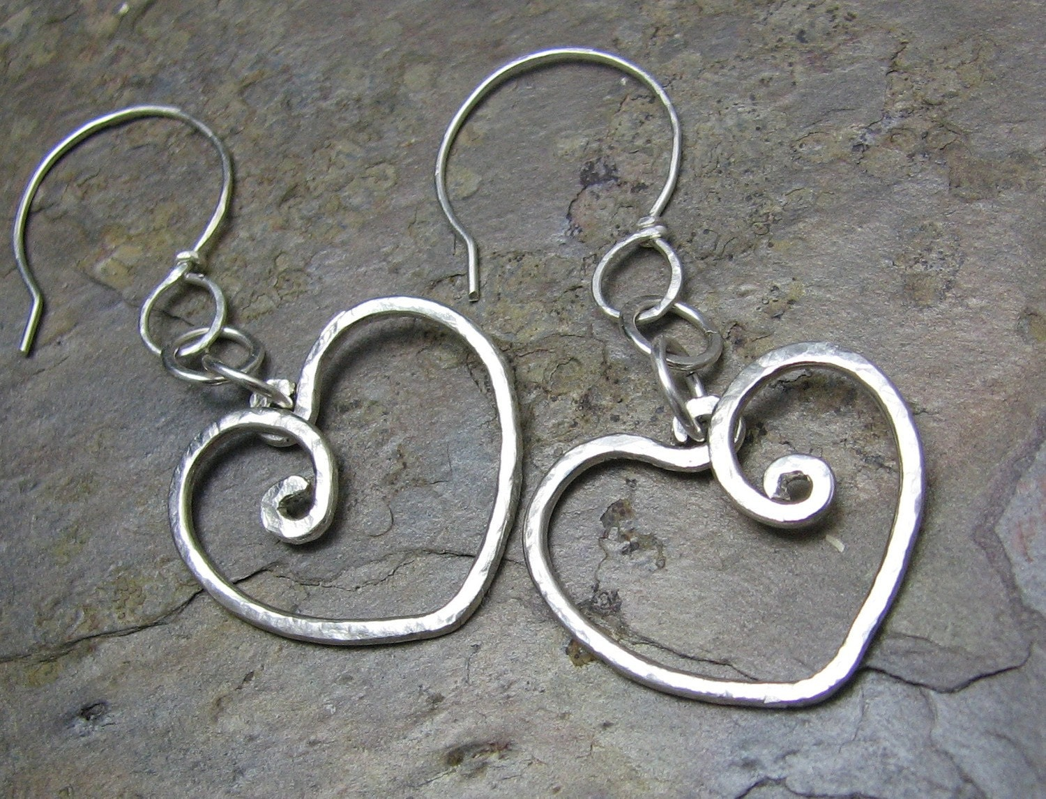 Hearts hammered sterling silver earrings pure love