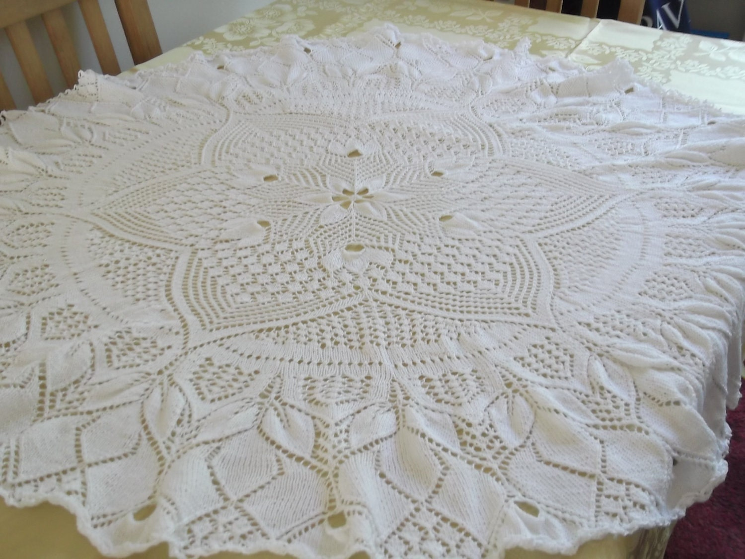 Knitting Pattern For Lace Tablecloth : Hand Knitted White Lace Tablecloth by margaretscrafting on Etsy