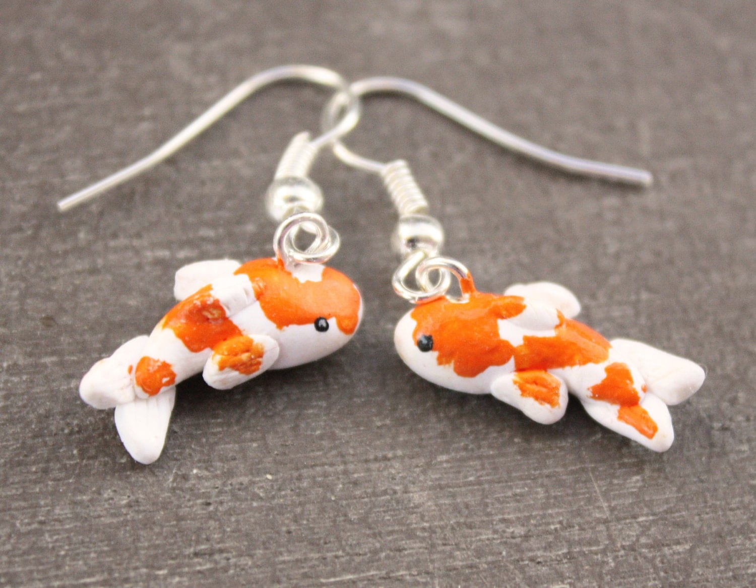 Koi fish earrings orange and white by debramariedesigns on for Orange and white koi