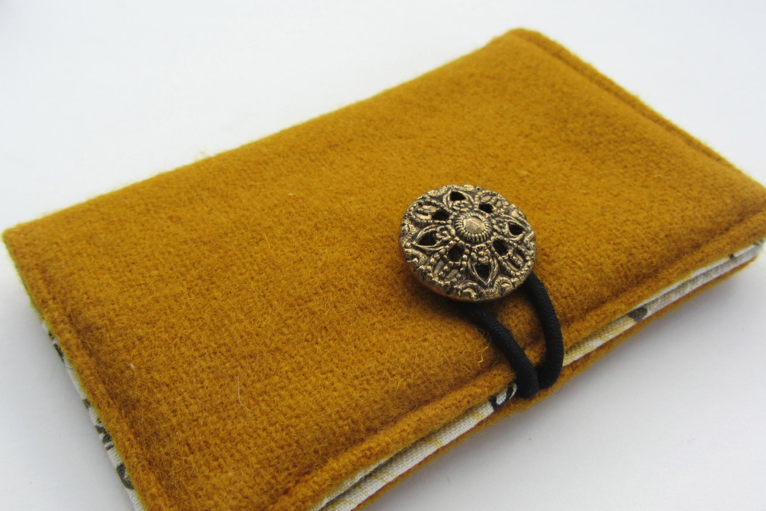 Upcycled Wool Bifold w/ Vintage Button Closure and Cotton Print Lining - Gold (BF-27) - STRUCTUREbags