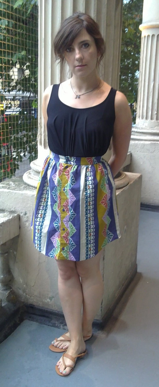 Bright and bold 70s patterned skirt, handmade from a vintage shirt