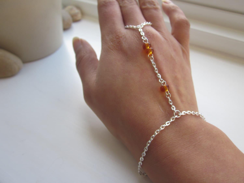 Slave bracelet silver hand chain hand jewellery finger chain amber bracelet jewellery uk