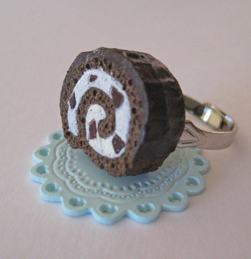 Chocolate Swiss Roll Cake Ring Mini Food Jewelry by Artwonders