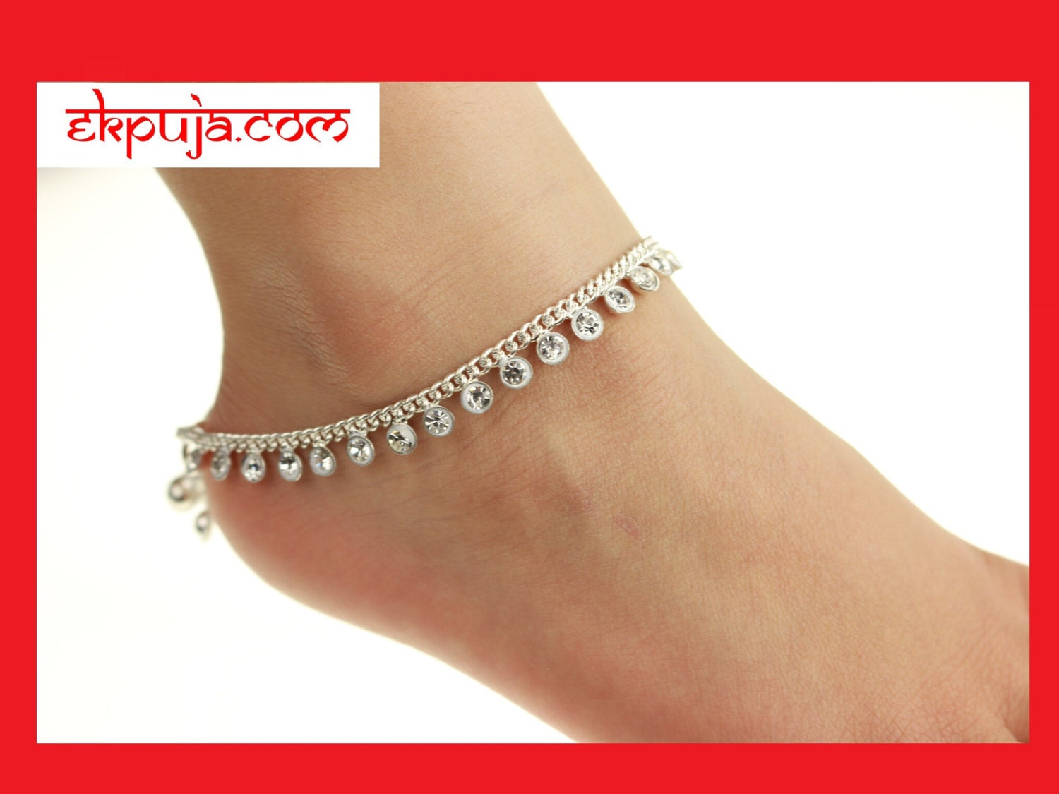 Stunning Diamonte Adult Anklet Payal Anklet Chain Bollywood Anklet Pair  Summer Wedding Indian Ankle Chain Anklet PAIR