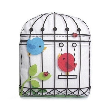 White BirdCage - Mini Decor Pillow