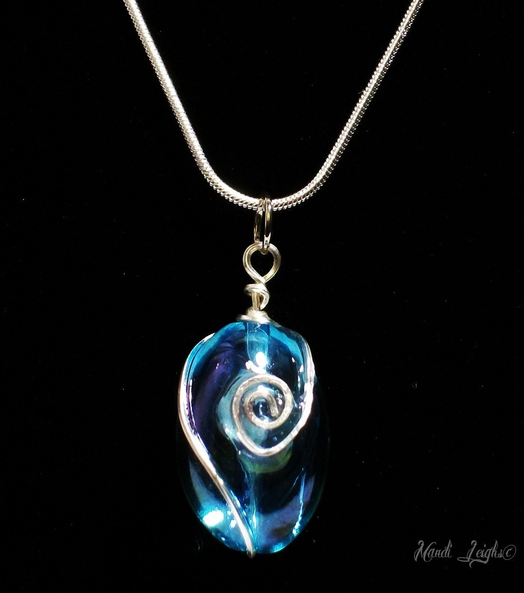 Aqua Aura Sterling Silver Wire Wrapped Necklace