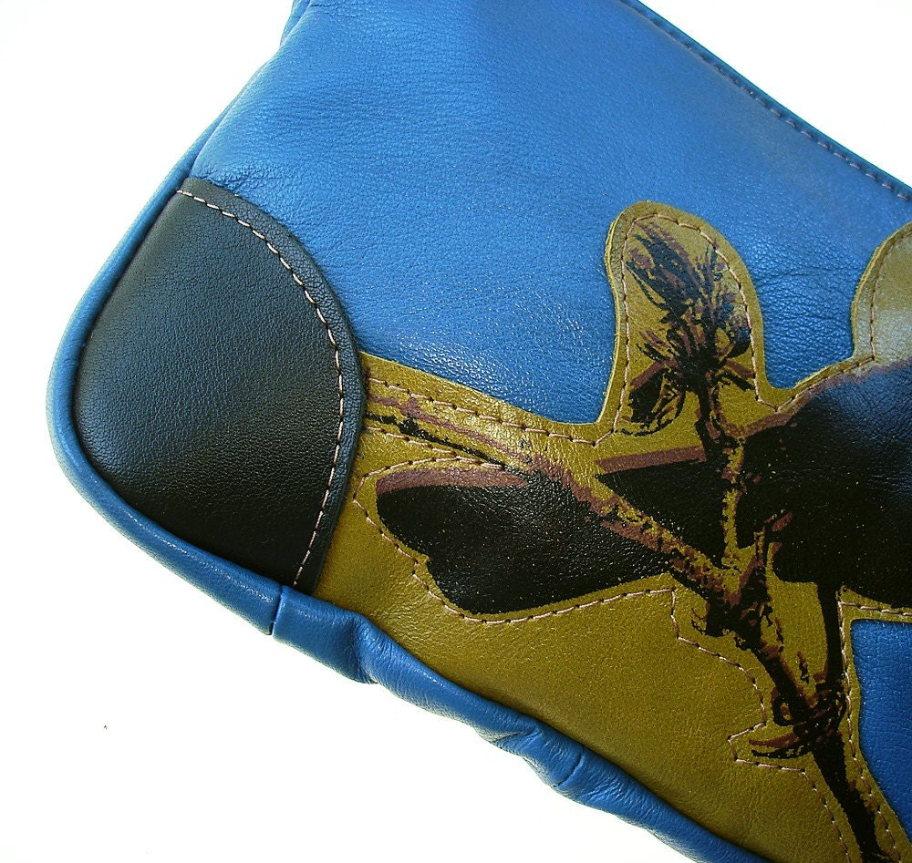 Cardinal  Vintage Reinvented Blue Leather   Wristlet