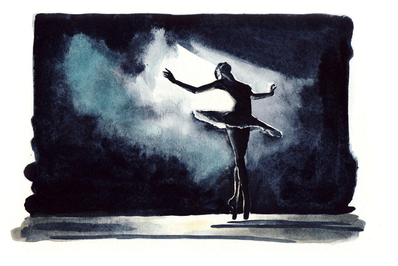 Black Swan Ballerina Performance Ballet Dancer - Print of Original Watercolor 6 x 9 - Black Swan Natalie Portman Odile Odette - LauraLaurentSalon